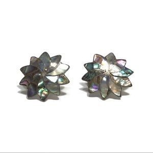 Jewelry - VINTAGE STERLING MEXICO ABALONE SHELL EARRINGS